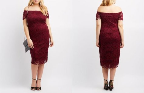 Charlotte Russe Plus Size Off-The-Shoulder Lace Dress