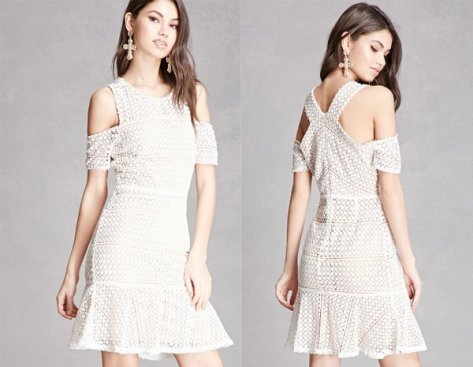 Crochet Open Shoulder White Mini Dresses At Forever 21
