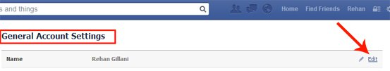 General Account Settings Page of Facebook