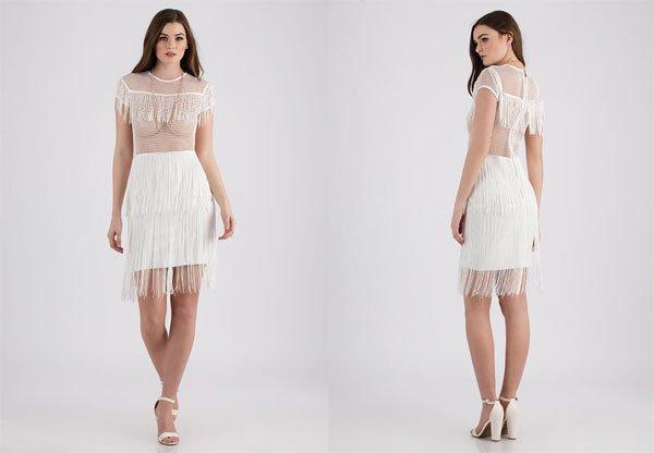 GoJane Flapper Fringe Netted Midi Dress