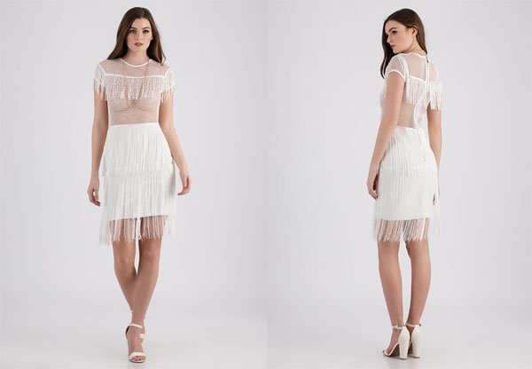 GoJane Flapper Fringe Netted Midi Dress