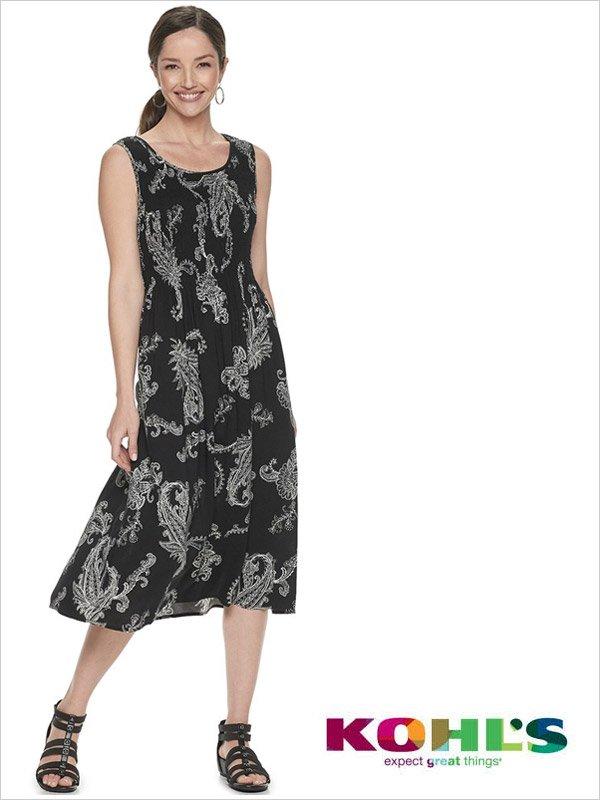Kohl's Women's Croft Barrow Print Challis Midi Dress