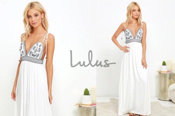 Lulus White Embroidered Boho Maxi Dress