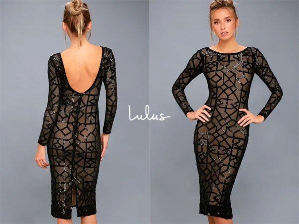 Lulus Mila Black Sequin Long Sleeve Midi Dress