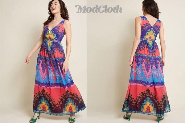 ModCloth Boho Maxi Dress in Indigo Color