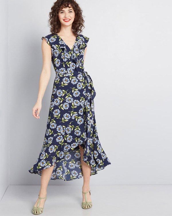 ModCloth Navy Floral Occasion Wrap Dress