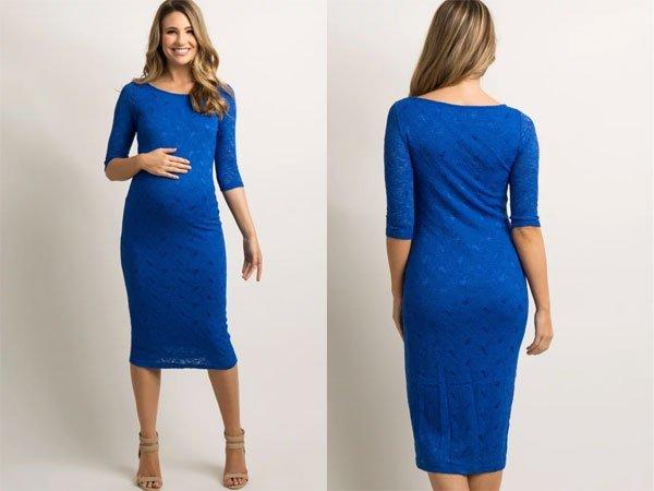 PinkBlush Blue Lace Maternity Dress