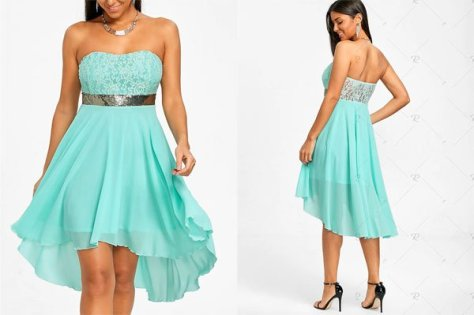 Rosegal Chiffon Cocktail Bandeau Dress – Electric Blue