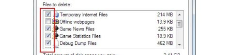 Tick mark the files you want to eliminate