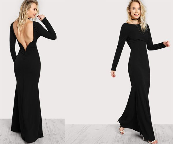 SHEin Long Sleeve Open Back Bodycon Maxi Dress