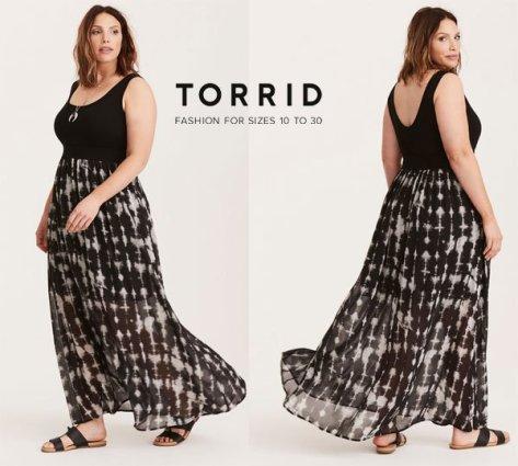 Torrid Tie Dye Chiffon Skirt Knit Top Plus Size Maxi Dress