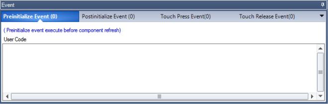 Vue du volet EVENT de l'éditeur NEXTION. Avec les 4 onglets. Preinitialize event, Postinitialise event, Touch presse event, Touche release event.