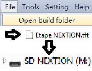 """Vue des onglets de menu. Onglet File activé. Choix en sélection """"Open build folder"""". Affichage du dossier et de l'emplacement de destination SD."""