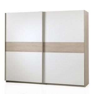 SDELIA River oak (clair) / Blanc Garderobe 2 portes coulissantes 250 cm
