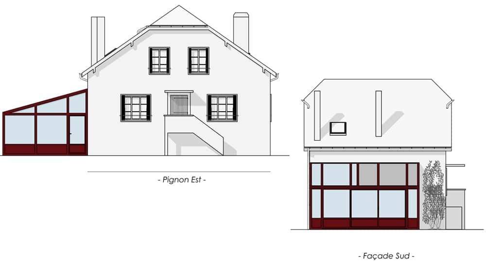 Plan des façades pour véranda