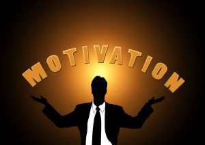 Graphic of man with the word motivation over him