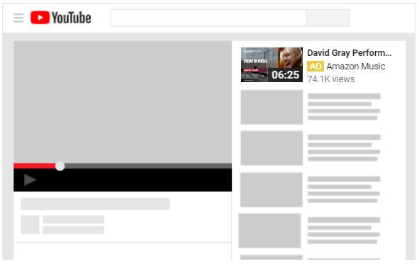Anúncio TrueView Video Discovery na página de exibição