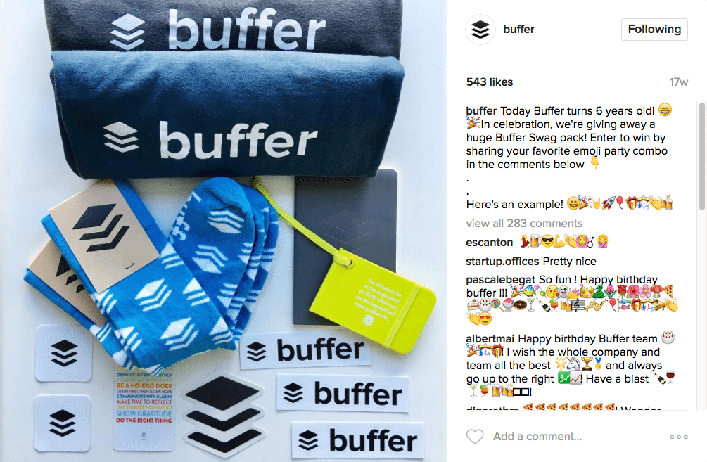 Concurso de sorteio do Buffer Instagram