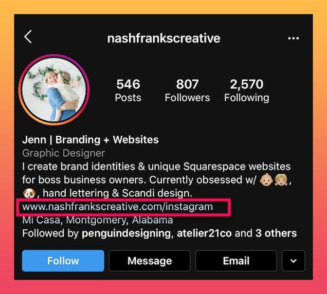 boas biografias do Instagram que incluem um link