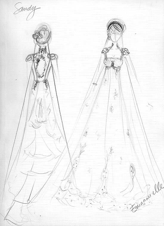 Cróqui do vestido de noiva da Sandy