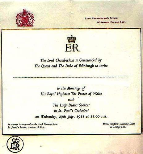Convite de casamento de príncipe Charles e princesa Diana