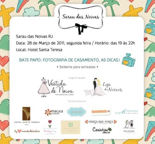Convite para Sarau das Noivas no Rio de Janeiro