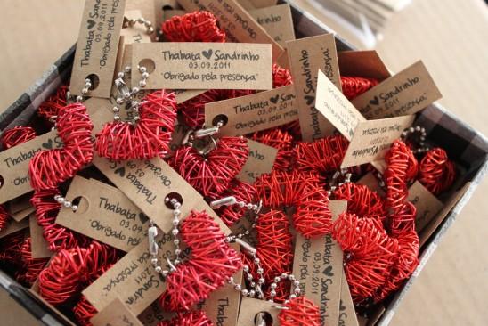 Lembrancinha de casamento: chaveiro de coração Oui Design