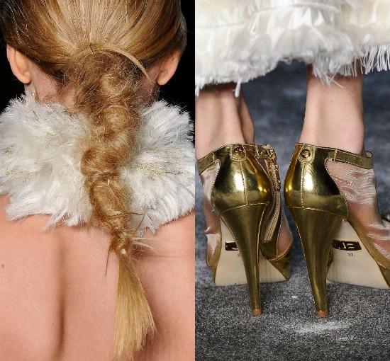 Desfile Samuel Cirnansck SPFW Inverno 2012: penteado e sapato dourado