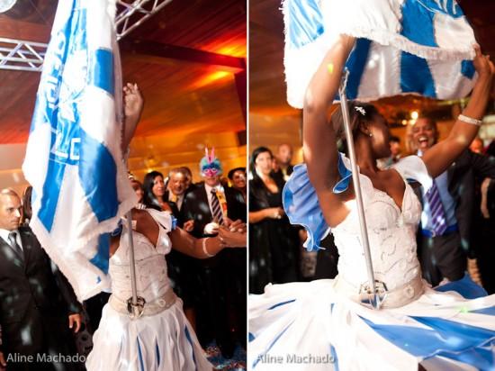 Escola de samba no casamento de Samantha e Ricardo. Foto: Aline Machado.