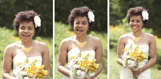 Penteado para noivas negras: cabelo afro ao naturla. Foto do casamento: Sarah Culver.