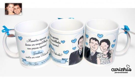 Convite para padrinhos de casamento: caneca personalizada.