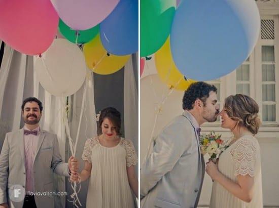 Casal de noivos felizes e bobos. Foto: Flávia Valsani.