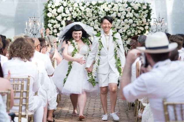 Casamento de Beth Ditto (cantora de Gossip) e Kirstin Ogata. Foto: divulgação.