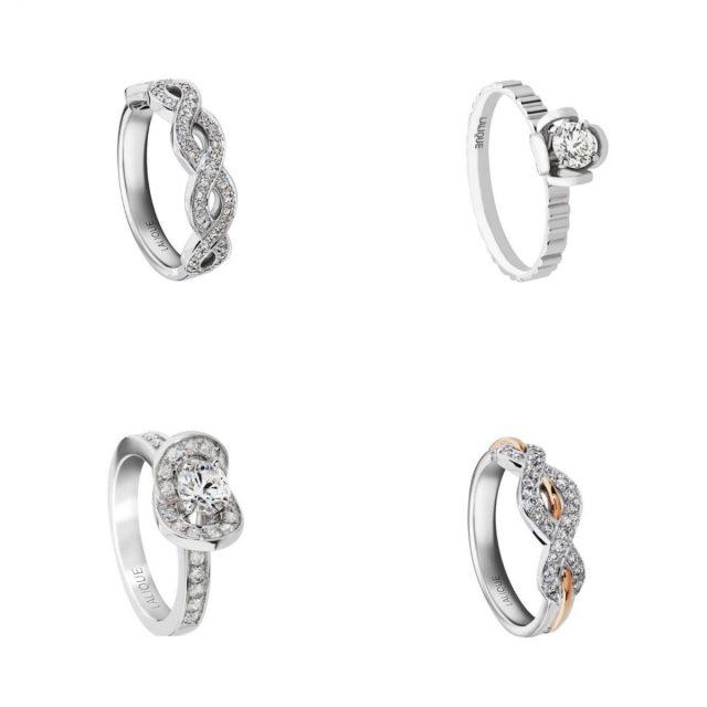 Anéis de noivado e solitários em ouro branco e diamante da Lalique.
