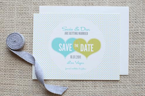 """Modelo de convite """"save the date"""" com corações e bolinhas para baixar - Planejando Meu Casamento"""
