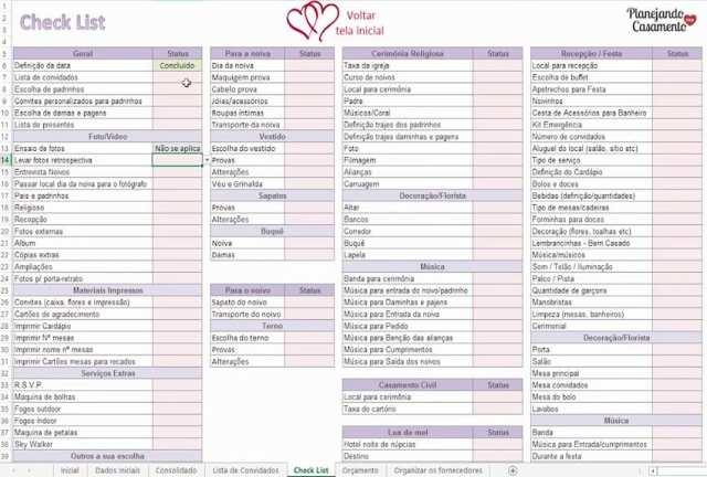 Planilha De Organização Geral Do Casamento Planejando Meu