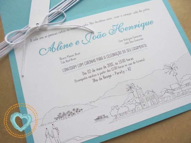 Convite de casamento divertido em azul piscina. Da Catita Convites.