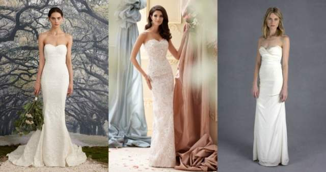 Vestidos de noiva tomara-que-caia corte reto.