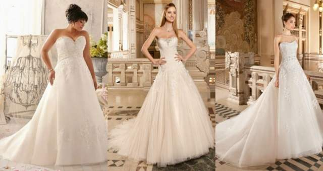 Vestidos de noiva tomara-que-caia corte evasê.