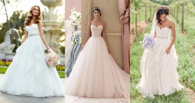 Vestidos de noiva tomara-que-caia corte princesa.