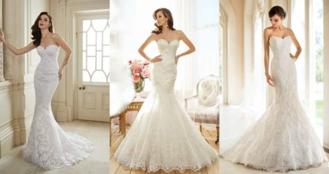 Vestidos de noiva tomara-que-caia corte sereia.