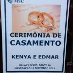 Casamento no cruzeiro MSC Preziosa de Kenya e Edmar.