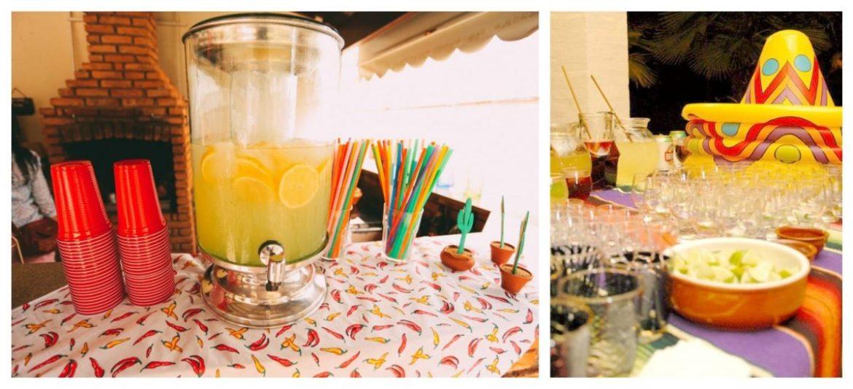 Bar de bebidas e drinks em festa mexicana, com margaritas, tequila e cervejas mexicanas. Fotos: Blog Berries and Love e Nacho Loco.