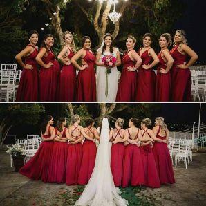 Vestidos de madrinhas de casamento em tons marsala e bordô. Foto: @noivostchucos. Mais dicas em www.planejandomeucasamento.com.br
