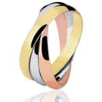 Tripla aliança de casamento em ouro, ouro rosé e prata. Foto: Lojas Rubi.