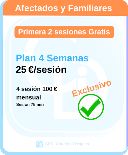 Plan CEDI 4 Semanas Especial - Sesiones Coaching Terapia Online - 2 primeras gratis