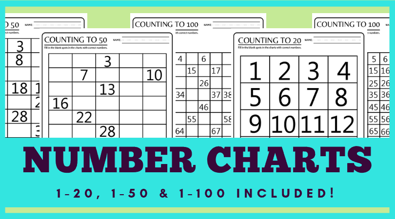 100 Chart Printable Worksheets For Counting & Skip
