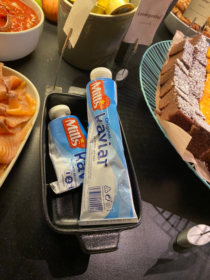 traditional breakfast at a hotel in norway while traveling during a pandemic
