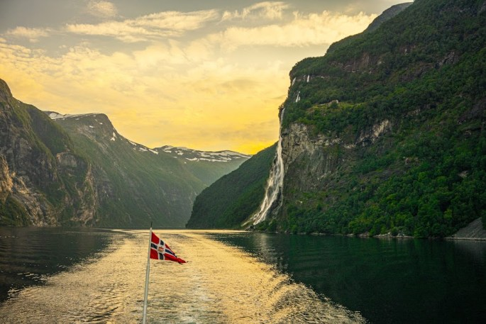 Geirangerfjord with the Seven Sisters waterfalls. fjord in Norway