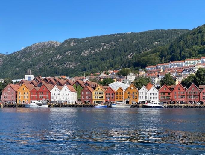 Bryggen in Bergen along the fjord in Norway
